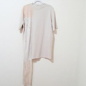 Zara sequin contrast with fringe cream tunic